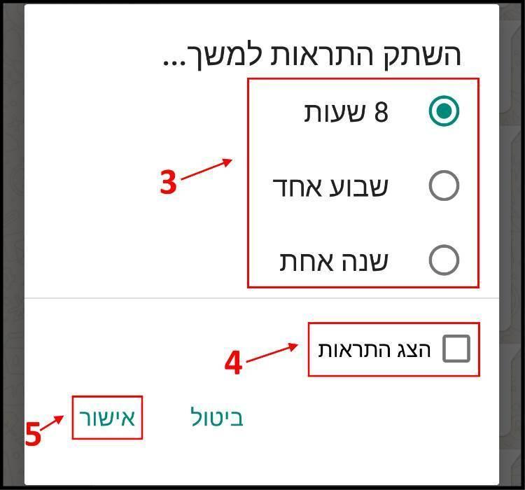 השתקת התראות ב- Whatsapp